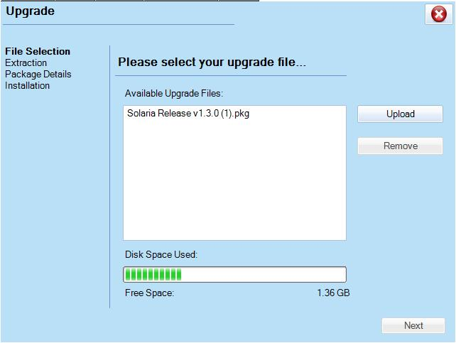 Click on Upload to Browse for the Software Package.